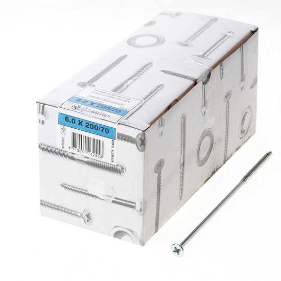 ASF Fischer Fischer Spaanplaatschroef platkop verzinkt pozidriv 6.0 x 200mm (Prijs per 100 stuks)