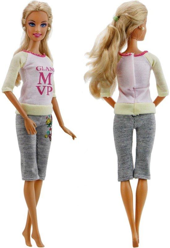 5 complete sets kleertjes voor modepop - Rokjes, topjes, en leggings met leuke prints - Vrijetijds kleding voor modepop