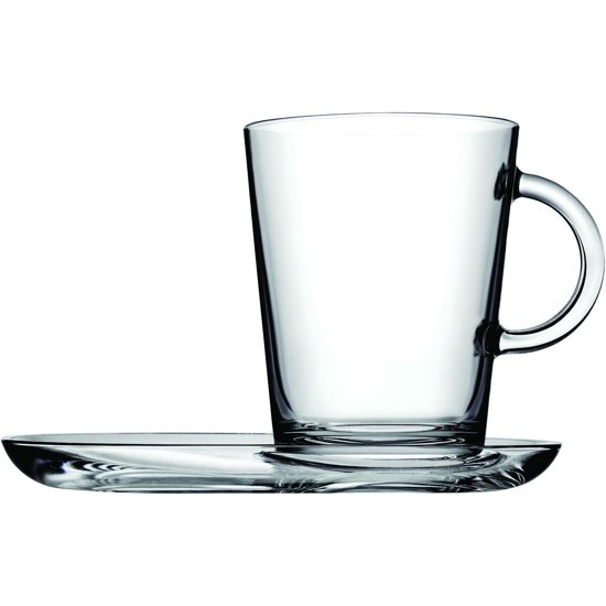 Pasabahce Tribeca Theeglas met schotel 40 cl - Gehard glas - 2 stukst