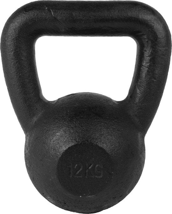 Tunturi Kettlebell - 12 kg met rubberen onderkant - Zwart