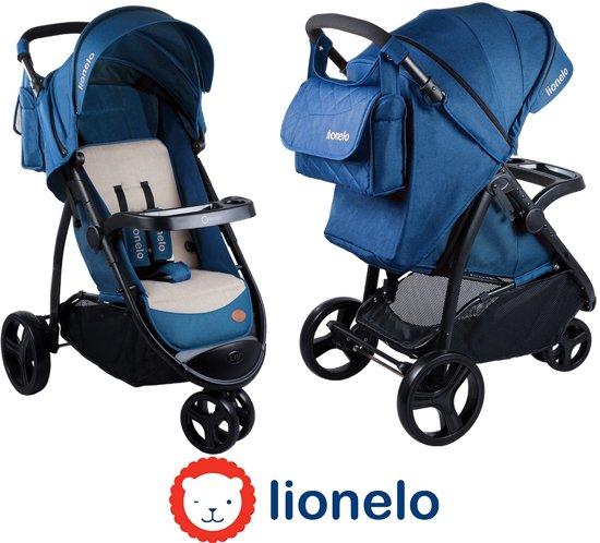 Makkelijk opvouwbare Lionelo Liv kinderwagen met luifel en veel accessoires blauw