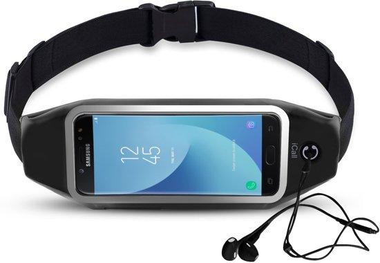 Heupband Running Belt iCall – Hardloopband Sportband Riem met Smartphone Houder – Universeel voor alle telefoons onder andere Apple iPhone 8 / 7 / 6 / 5 en Samsung Galaxy J5 (2017) / J3 / J7