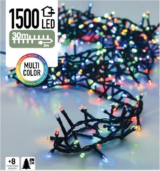 Draadloze Kerstboomverlichting Met Dimmer.Gekleurde Kerstlampjes Microcluster 30 M 1500 Led Multi Color 8 Standen