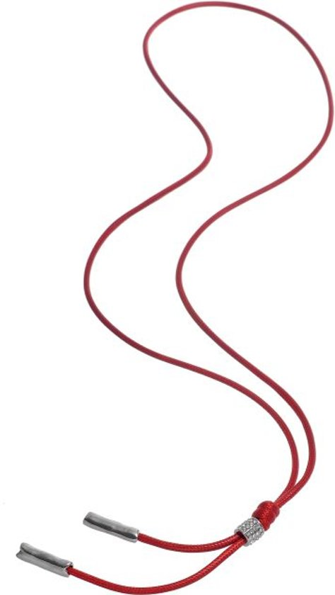 Lange rode ketting van waxkoord
