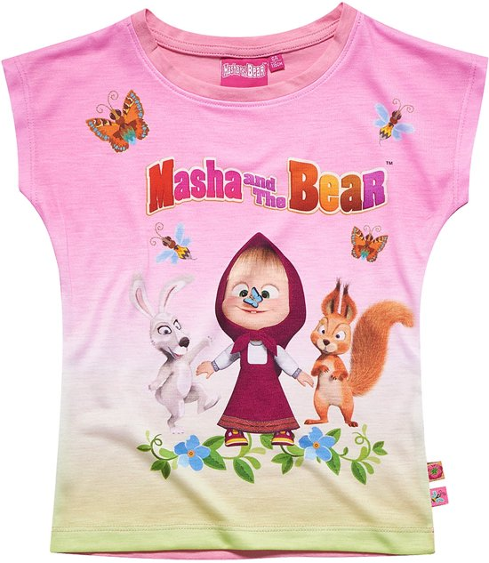Masha-and-The-Bear-T-shirt-met-korte-mouw-roze-maat-134