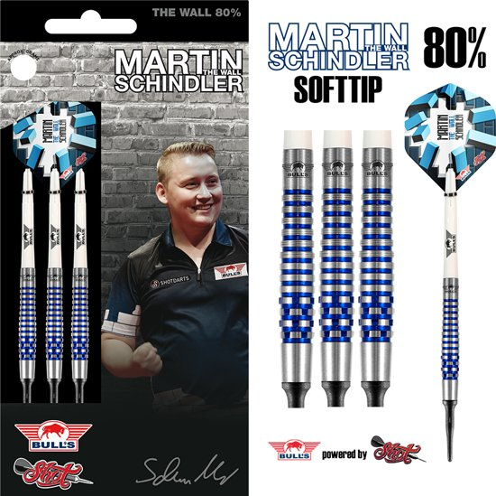 Bull's Softtip Martin Schindler The Wall 80% PCT Blue 18 gram Darts
