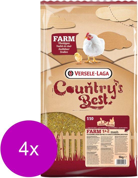 Versele-Laga Country`s Best Farm 1&2 Mash Groeikorrel Vlees Kip - Kippenvoer - 4 x 5 kg Van 0 Weken
