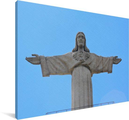 Het Christus de Verlosser beeld in Lissabon Canvas 180x120 cm - Foto print op Canvas schilderij (Wanddecoratie woonkamer / slaapkamer) XXL / Groot formaat!