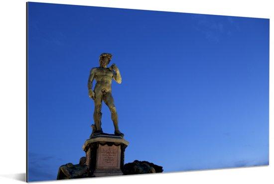 Blauwe lucht boven het bijzondere David beeld Aluminium 120x80 cm - Foto print op Aluminium (metaal wanddecoratie)
