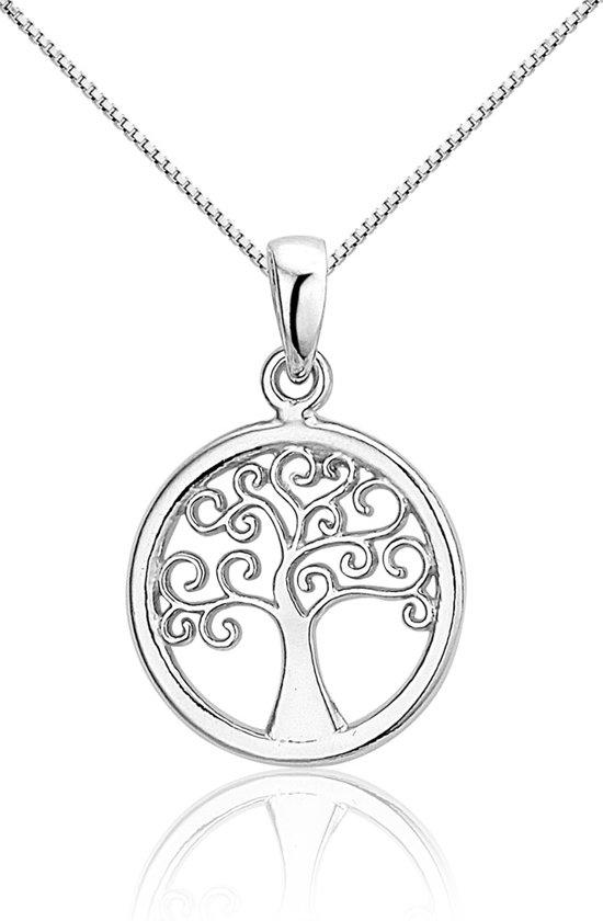 Montebello Ketting Levensboom - Dames - Zilver gehrodineerd - ∅16 mm - 45 cm
