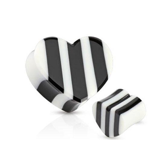 14 mm Double-flared plug zwart/wit hart ©LMPiercings