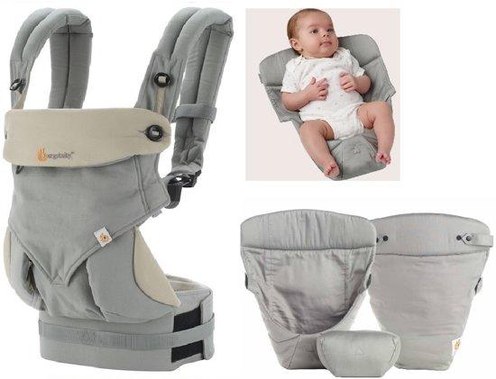 Ergobaby Geboortepakket: babydraagzak 360 Grey incl. verkleinkussen Original grey