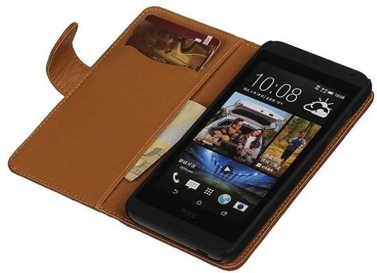 Mobieletelefoonhoesje.nl - Huawei Ascend Y300 Hoesje Washed Leer Bookstyle Bruin in Tweedeweg