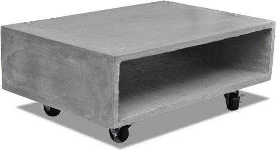 Salontafel Van Beton : Bol salontafel met opbergvak en wielen massief beton