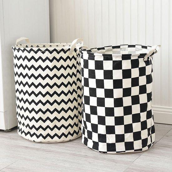 Ronde Design Wasmand.Set Van 2 Inklapbare Ronde Wasmanden Katoen Zwart Wit
