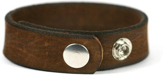 IbizaMen KIDS - Kinder jongens armband - bruin leer vintage - breedte 20mm - verstelbaar maat 14cm tot 16,5cm