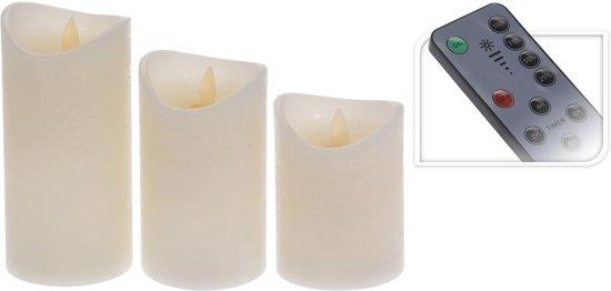 Set van 3 ivoor led kaarsen met afstandsbediening - LED stompkaarsen