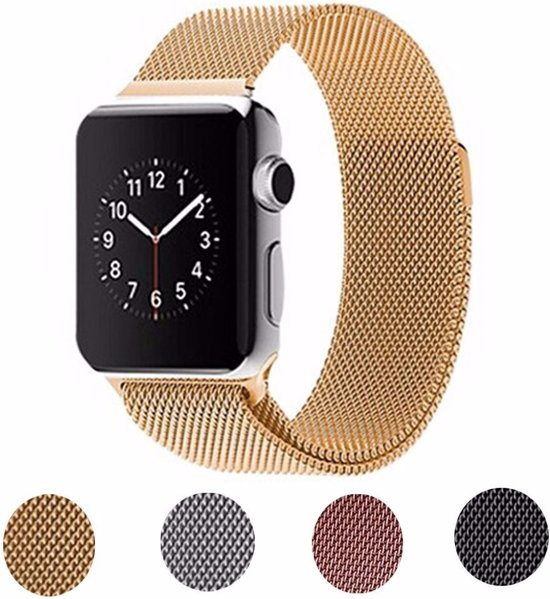 Milanese Loop Armband Voor Apple Watch Series 1/2/3 42 MM Iwatch Metalen Milanees Horloge Band - Goud Kleurig
