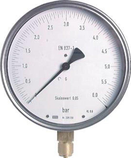 -1..5 Bar Manometer Onderaansluiting RVS 160 mm Klasse 0.6 - MW-15160SV-P