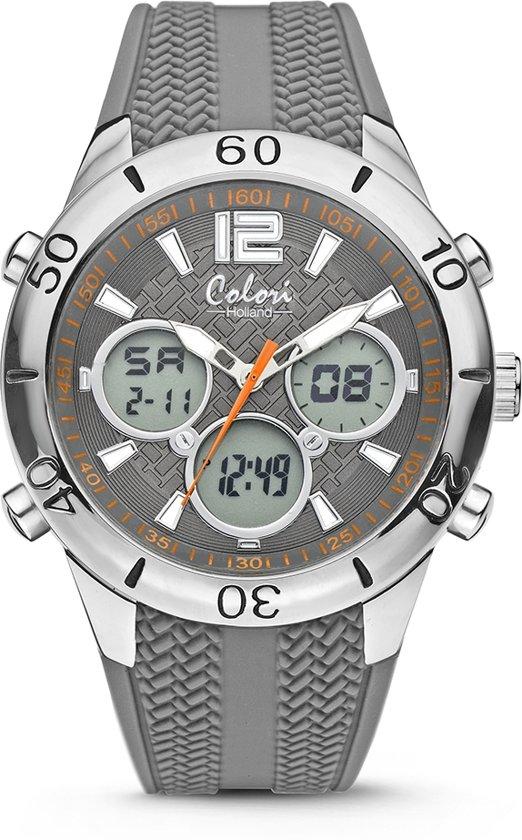 Colori Holland horloge 5-CLD137 - Horloge - siliconen band - grijs - 43 mm