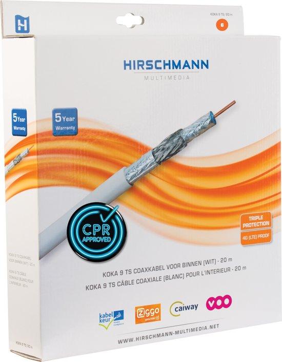 Hirschmann KOKA 9 Eca 4G/LTE proof coaxkabel in doos voor binnen / wit - 20 meter