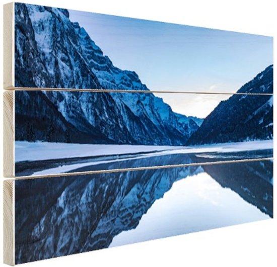 Bergmeer in de winter Zwitserland Hout 120x80 cm - Foto print op Hout (Wanddecoratie)