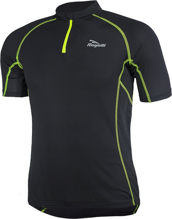 Rogelli Perugia Jersey SS - Fietsshirt - Korte Mouw - Zwart/Geel - Maat XL