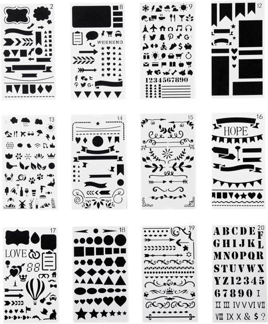 Mijn Bullet Journal Stencils - Sjablonen - Handlettering Stencils - Grafische Stencils - 12 stuks - 10x18 cm