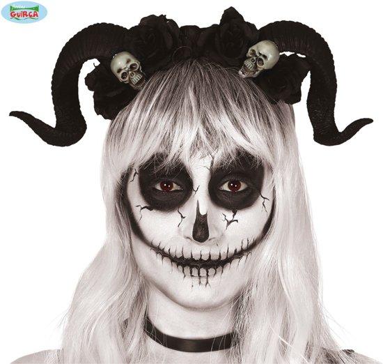 Halloween Diadeem met Zwarte Hoorns