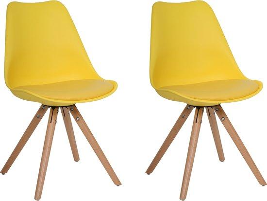 Bol.com butik living consilium woody stoel geel set van 2