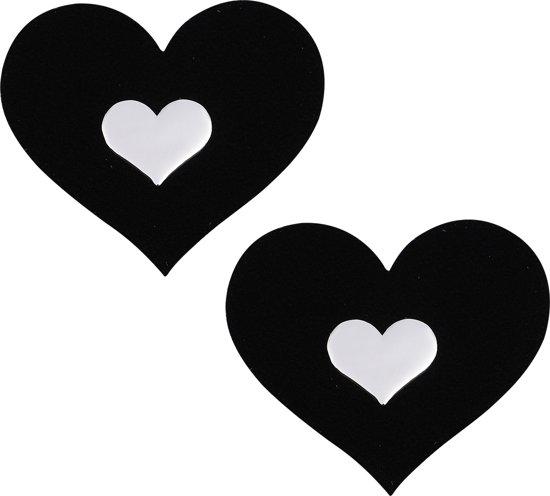 Pinch - Nipple Sticker Velvet Mirror  - Tepel Plakker - Hart Zwart - Tepelsticker