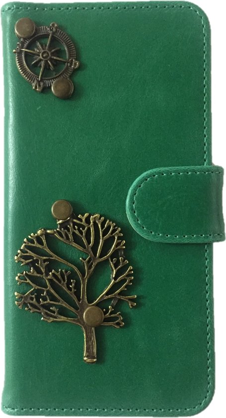 MP Case® PU Leder Mystiek design Groen Hoesje voor Apple iPhone 7 / 8 Boom Figuur book case wallet case in Nieuwe Wetering