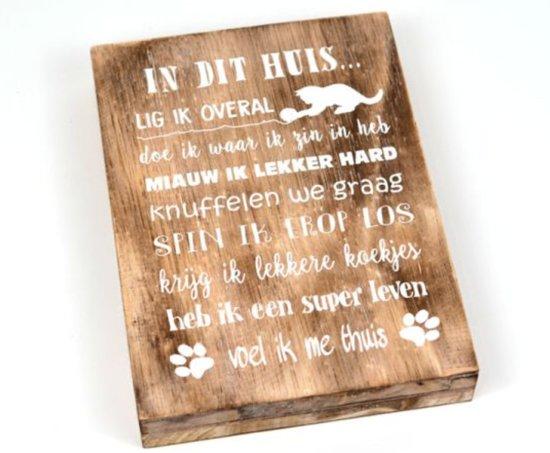katten spreuken bol.| Houten Spreukbord Katten Spreuken Woondecoratie Cadeau  katten spreuken