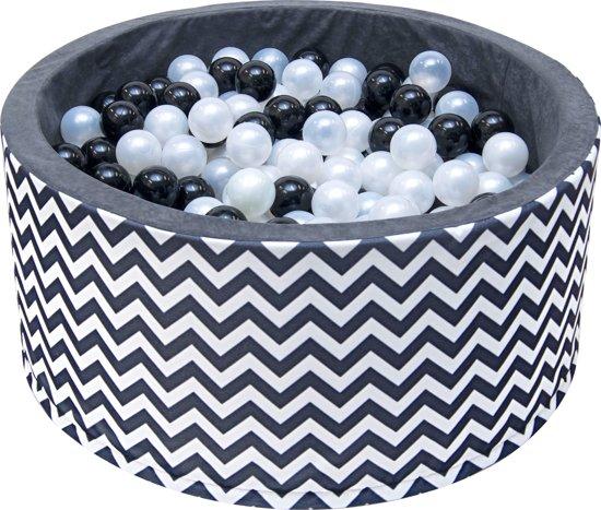 Ballenbak - stevige ballenbad -90 x 40 cm - 200 ballen Ø 7 cm - roze, wit, grijs in zebrapatroon