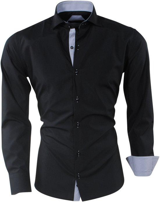 Overhemd Zwart Heren.Bol Com Pradz Heren Overhemd Gestreepte Kraag Slim Fit Zwart