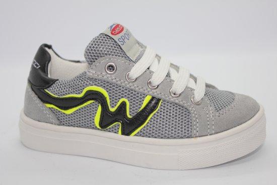 Balducci jongens sneaker laag - grey mesh - zwart/gele W - maat 36