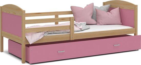 Kinderbed 160x80 cm – Pijnboom/roze – met matras