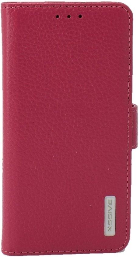 Premium Hoesje voor LG G5 H850 - Book Case - Ruw Leer Leren Lederen - geschikt voor pasjes - Pink
