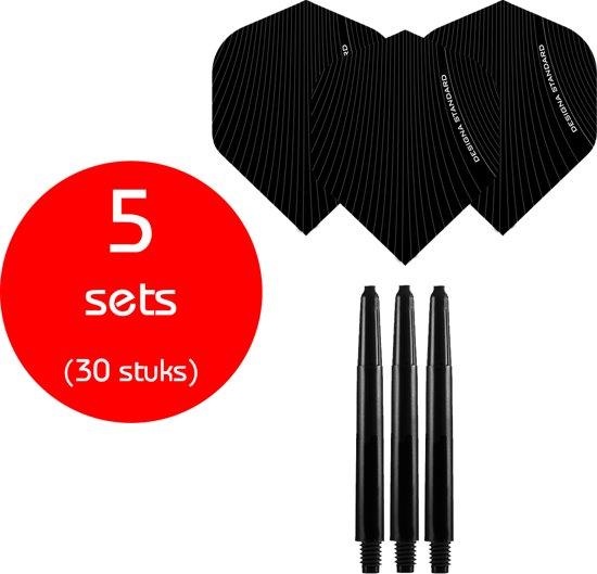 Dragon Darts - 5 sets (30 stuks) - medium - darts shafts - inclusief - Infusion - darts flights - zwart