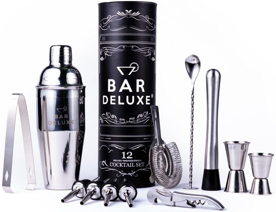 Cocktail Set van BarDeluxe® - 12-Delige Cocktailset - Cocktail Shaker (750ml) - Receptenboek