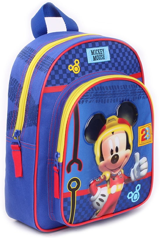 bbc10ab0e9f Disney Mickey Mouse Crazy Speed Kinderrugzak Unisex - Blauw - 31 cm hoog  met groot voorvak