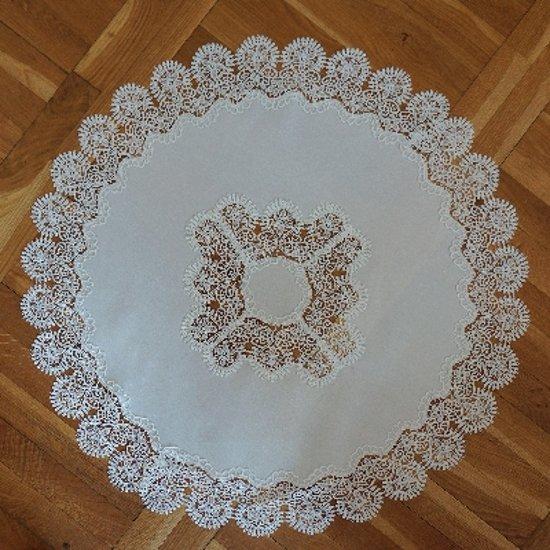 Tafelkleed Grof kant Wit met bloem in kanten rand - Rond 85 x 85 cm