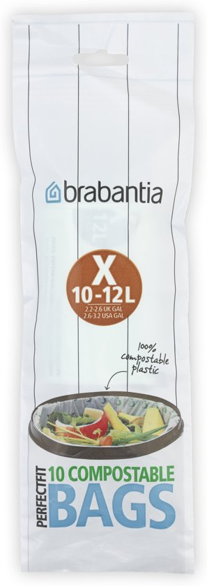 Brabantia Perfect Fit Compostable Afvalzakken - 10-12 l - Code X - 10 stuks