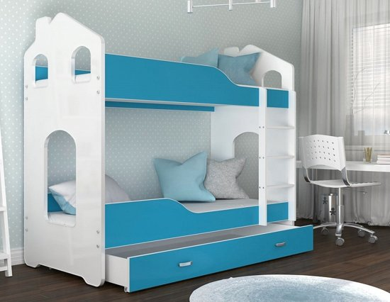 Stapelbed 80 X 180.Kinder Stapelbed Blauw 180 X 80 Cm Huisbed Inclusief Matras