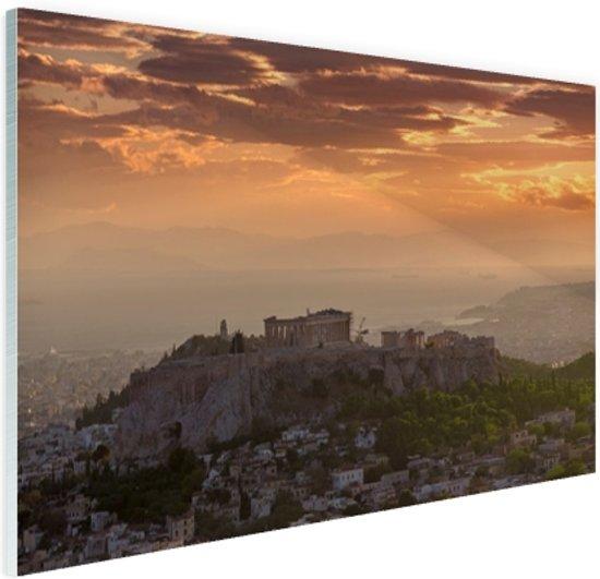 De Akropolis bij zonsondergang Glas 60x40 cm - Foto print op Glas (Plexiglas wanddecoratie)