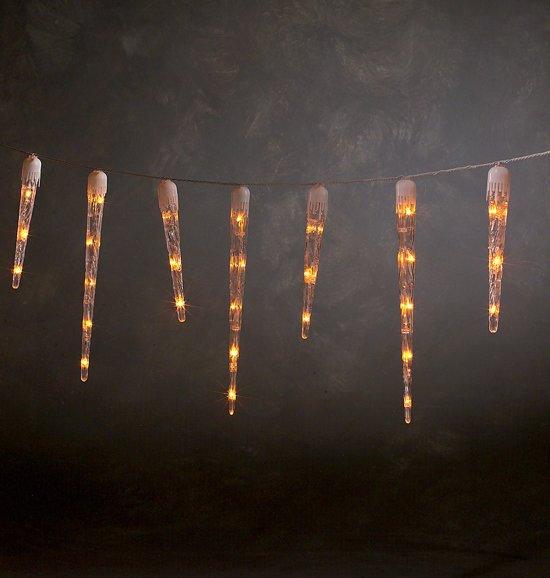 Konstsmide 2728 - Snoerverlichting - 120 lamps microlight ijspegelsnoer - 500 cm - 24V - voor buiten - warmwit