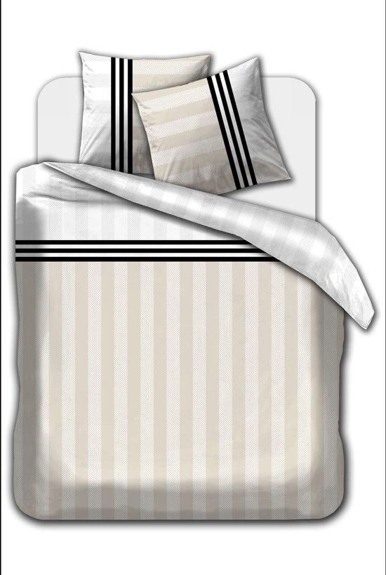 Flanel dekbedovertrek Stripes Beige 270 x 220 met slopen