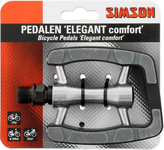 Simson Pedalen Set Elegant Comfort 9/16 Inch Grijs/zwart