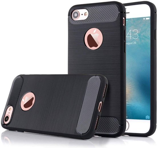 Geborsteld Hoesje voor Apple iPhone 6s / 6 Soft TPU Gel Siliconen Case Zwart iCall