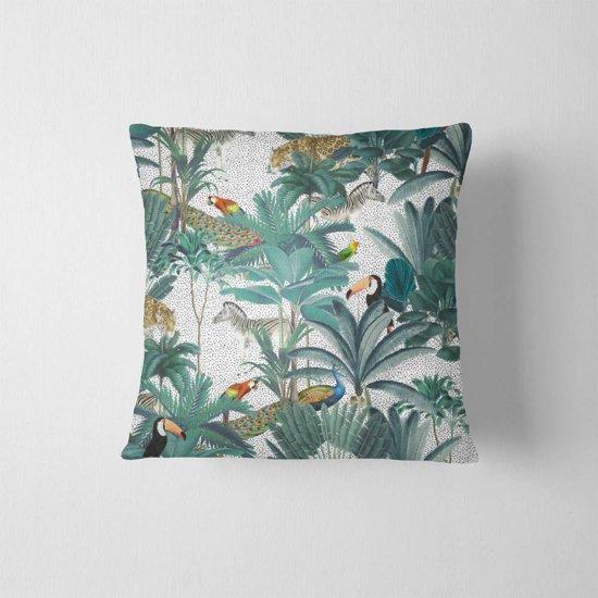 DesignClaud Sierkussen - Jungle wit 40 x 40 cm kussenhoes